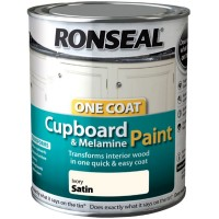 Ronseal One Coat Cupboard and Melamine Paint Ivory Satin - 750ml
