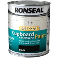 Ronseal One Coat Cupboard and Melamine Paint Black Satin - 750ml