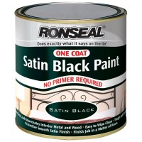 Ronseal One Coat Satin Black Paint - 250ml