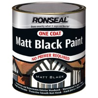 Ronseal Exterior One Coat Matt Black Paint 750ml