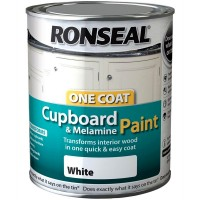 Ronseal One Coat Cupboard and Melamine Paint White Gloss - 750ml