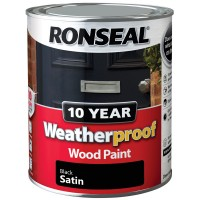 Ronseal 10 Year Weatherproof Wood Paint 750ml Satin Black