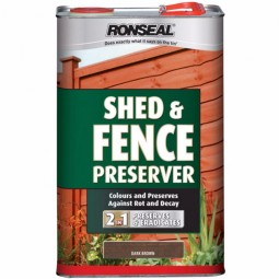 Ronseal Shed and Fence Preserver Dark Brown - 5 Litre
