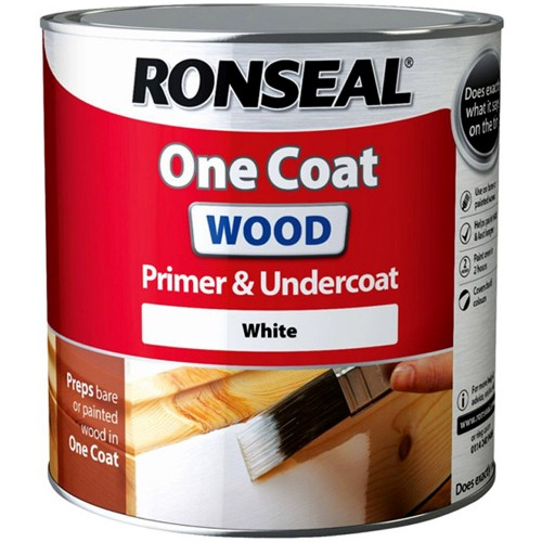 Ronseal One Coat Wood Primer And Undercoat White 750ml