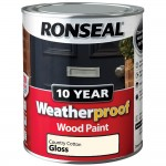 Ronseal 10 Year Weatherproof Wood Paint 750ml Gloss Country Cotton