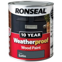 Ronseal 10 Year Weatherproof Wood Paint 750ml Satin Grey
