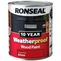 Ronseal 10 Year Weatherproof Wood Paint 750ml Gloss Royal Red
