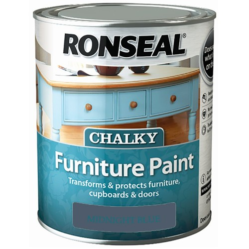 Ronseal chalky finish furniture paint midnight blue 750ml for Decor 750ml