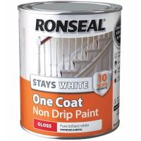 Ronseal Stays White One Coat Non-Drip Paint Gloss Finish - 750ml