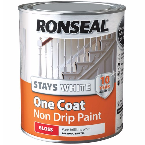 Ronseal Stays White One Coat Non Drip Paint Gloss Finish