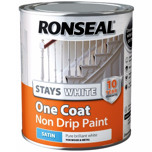 Ronseal stays white one coat non drip paint satin finish Ronseal 10 year exterior wood paint