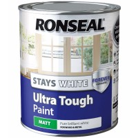 Ronseal Stays White Ultra Tough Paint White Matt Finish - 750ml