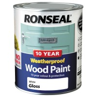 Ronseal 10 Year 2 in 1 Weatherproof Wood Paint 750ml White Gloss