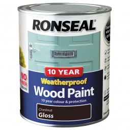 Ronseal 10 Year 2 in 1 Weatherproof Wood Paint 750ml Chestnut Gloss
