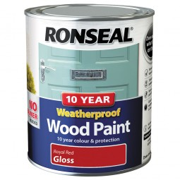Ronseal 10 Year 2 in 1 Weatherproof Wood Paint 750ml Royal Red Gloss