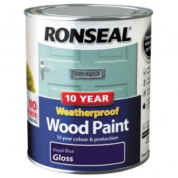 Ronseal 10 Year 2 in 1 Weatherproof Wood Paint 750ml Royal Blue Gloss