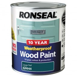 Ronseal 10 Year 2 in 1 Weatherproof Wood Paint 750ml Deep Teal Gloss