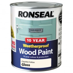 Ronseal 10 Year 2 in 1 Weatherproof Wood Paint 750ml Country Cotton Gloss