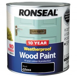 Ronseal 10 Year 2 in 1 Weatherproof Wood Paint 2.5 Litre Black Gloss