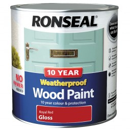 Ronseal 10 Year 2 in 1 Weatherproof Wood Paint 2.5 Litre Royal Red Gloss
