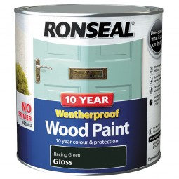 Ronseal 10 Year 2 in 1 Weatherproof Wood Paint 2.5 Litre Racing Green Gloss