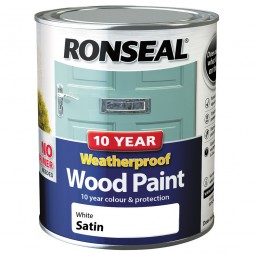 Ronseal 10 Year 2 in 1 Weatherproof Wood Paint 750ml White Satin