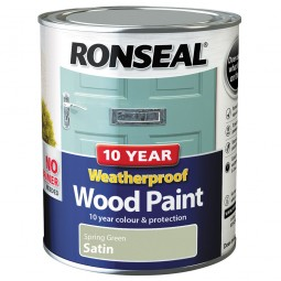 Ronseal 10 Year 2 in 1 Weatherproof Wood Paint 750ml Spring Green Satin