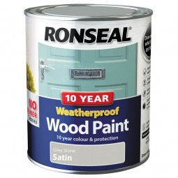 Ronseal 10 Year 2 in 1 Weatherproof Wood Paint 750ml Grey Stone Satin