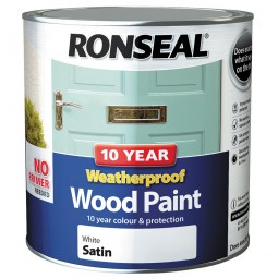 Ronseal 10 Year 2 in 1 Weatherproof Wood Paint 2.5 Litre White Satin