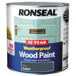 Ronseal 10 Year 2 in 1 Weatherproof Wood Paint 2.5 Litre Grey Satin