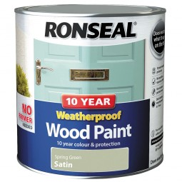 Ronseal 10 Year 2 in 1 Weatherproof Wood Paint 2.5 Litre Spring Green Satin