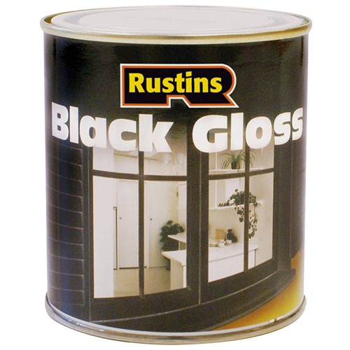 Rustins black gloss paint interior and exterior 250ml - Exterior alkyd paint decoration ...