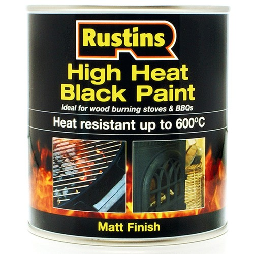 rustins high heat resistant matt black paint 600 degrees c. Black Bedroom Furniture Sets. Home Design Ideas