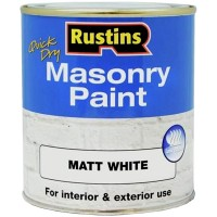 Rustins Quick Drying Masonry Paint Matt White - 500ml
