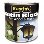 Rustins Quick Drying Satin Black Wood and Metal Paint - 1 Litre