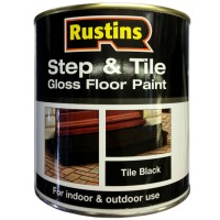 Rustins Step and Tile Black Gloss Paint - 250ml