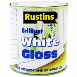 Rustins Brilliant White Gloss Paint for Interior & Exterior Use - 1 Litre