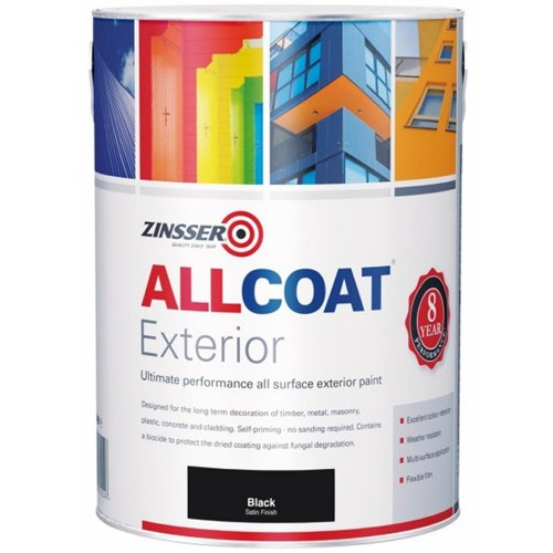 zinsser allcoat exterior water based paint satin black 5