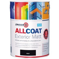 Zinsser Allcoat Exterior Water Based Paint Matt Black - 1 Litre