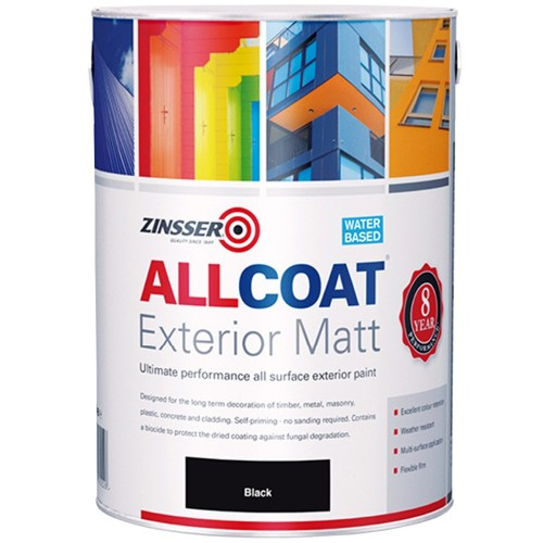 Zinsser allcoat exterior water based paint matt black 1 litre - Zinsser exterior paint pict ...