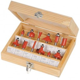 Silverline Router Cutter Set TCT 1/4in - 12 Piece