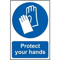 Scan Protect Your Hands Sign PVC 200mm x 300mm