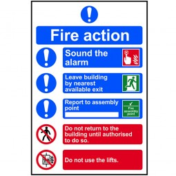 Scan Fire Action Procedure Sign PVC 200mm x 300mm
