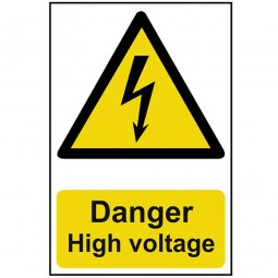 Scan Danger High Voltage Safety Sign 300mm x 200mm