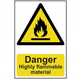 Scan Danger Highly Flammable Material Safety Sign 300mm x 200mm
