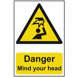 Scan Danger Mind Your Head Safety Sign 200mm x 300mm