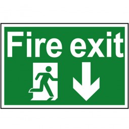 Scan Fire Exit Running Man Arrow Down Sign 300mm x 200mm