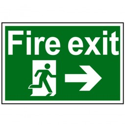 Scan Fire Exit Running Man Right Arrow Sign 300mm x 200mm
