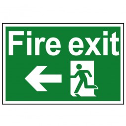Scan Fire Exit Running Man Arrow Left Sign 300mm x 200mm