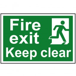 Scan Fire Exit Running Man Keep Clear Sign 300mm x 200mm